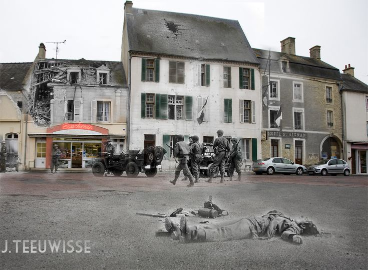 Ghosts of War - France; Square cleared Trévières, Place du Marché, June 10th 1944. [jo hedwig teeuwisse]