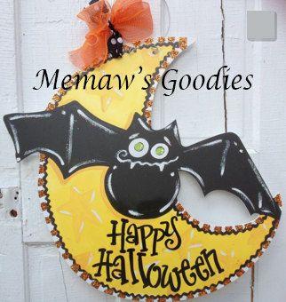 Wood Halloween Moon and Bat Door Hanger by MemawsGoodys on Etsy