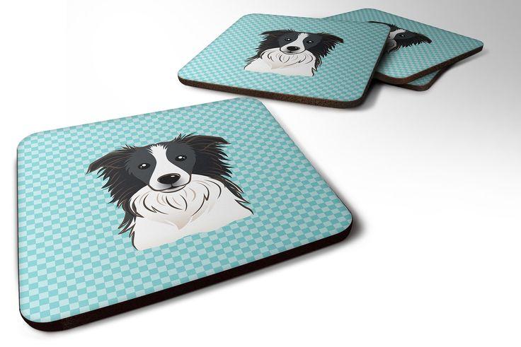 Set of 4 Checkerboard Blue Border Collie Foam Coasters BB1179FC