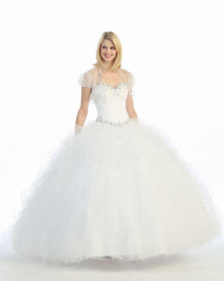 # 3001 Sweetheart Beaded Ruffle Quinceanera Dress with Bolero Vestido de 15 Blanco con Muchos Voladitos, decorado con Pedreria Crystal y Bolero