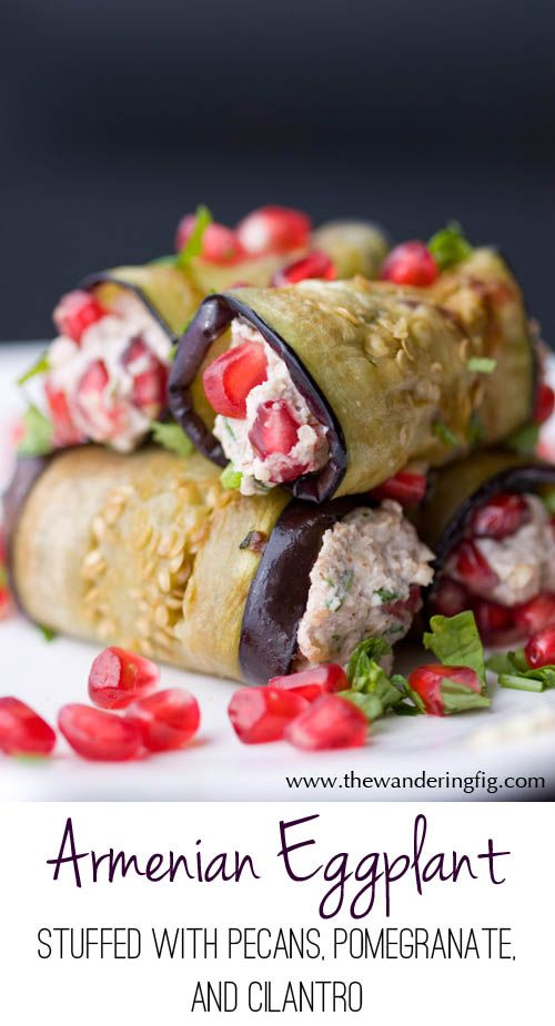 Armenian Eggplant recipe consisting of strips of grilled eggplant stuffed with walnuts, sour cream, pomegranate (or dried cranberries) and cilantro!