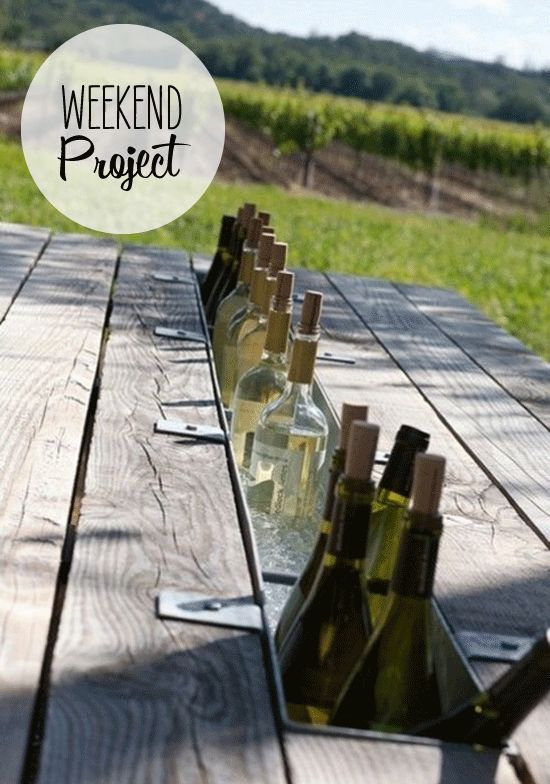 Picnic Table Wine Cooler ~ Seriously Genius!  (Substitute the wine with soft drinks for a kids party)