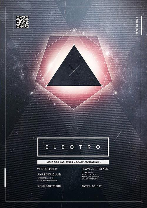 Cristal Electro Party Flyer Template – ffflyer.com/… Enjoy downloading the Cri…