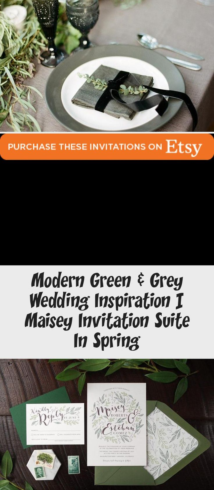 Botanical illustration Green & Grey Wedding inspiration perfect for a modern garden wedding or an urban wedding dripping with greenery. Palette of greens - emerald and sage. Earthy and organic with clean, modern touches. Bridesmaid dresses #BridesmaidDresses2018 #BridesmaidDresses2019 #BridesmaidDressesSequin #BlackBridesmaidDresses #SilverBridesmaidDresses