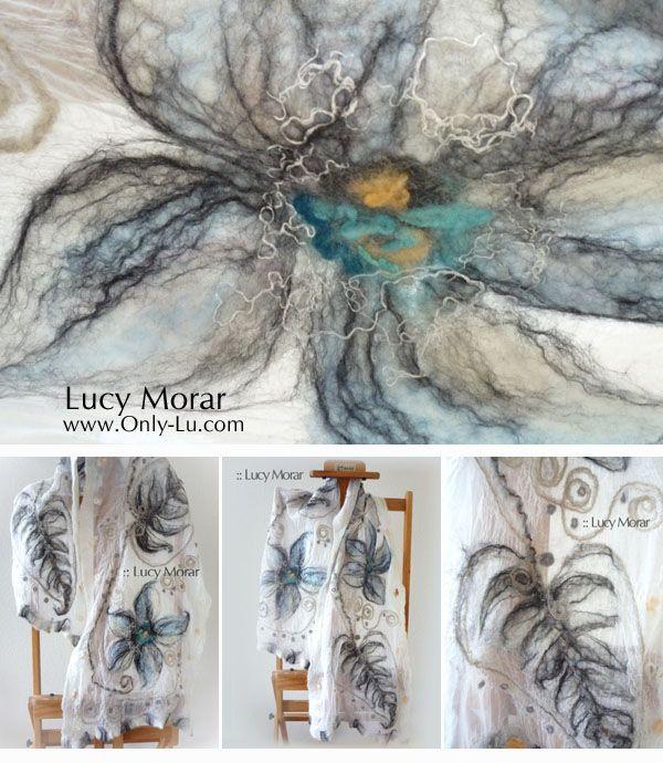 Spring Mood / Felt Art Scarf... Lucy Morar...http://www.only-lu.com
