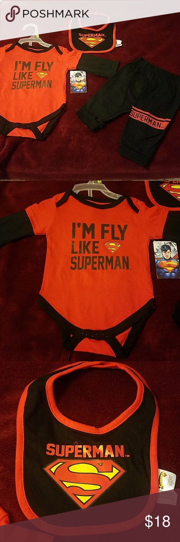 Fly like superman! NWT This set is super cute and has the style of my favorite superhero,long sleeves onesie with snap closure on bottom,includes one bib and one long jogger pants. 100%cotton. Matching Sets