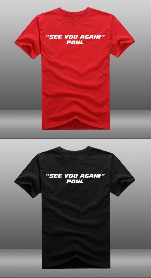 afa8c0663456b 2015 Mens Casual Movie Fast Furious 7 Paul Walker See You Again T-shirts  Print Cotton