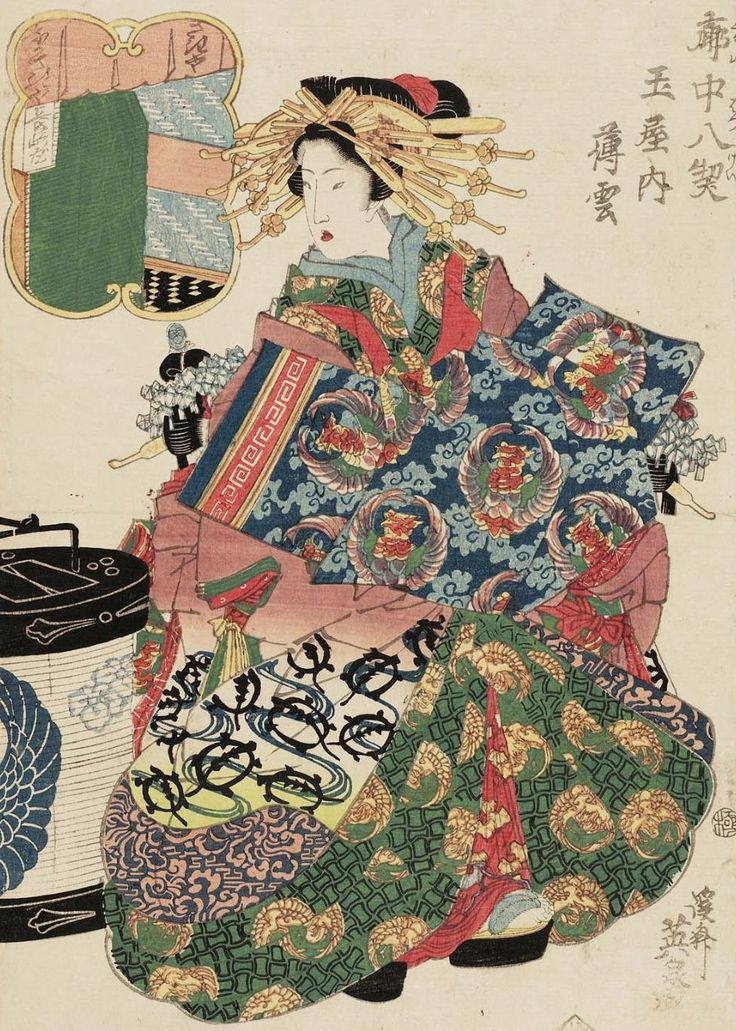 Usugumo of the Tamaya. Ukiyo-e woodblock print, about 1830's, Japan, by artist Keisai Eisen.