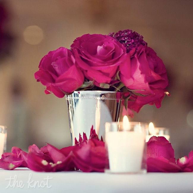 Hot+Pink+Hydrangeas+Centerpiece | Fuchsia Roses in Silver Julep Cups with Votive and Rose Petal Accents ...