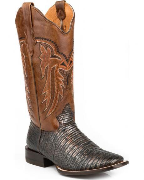 Roper Lizzy Faux Teju Lizard Cowgirl Boots - Square Toe
