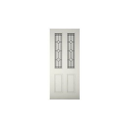 4 Panel Primed Glazed Front Door & Frame with Letter Plate, (H)2074mm (W)856mm | Departments | DIY at B&Q