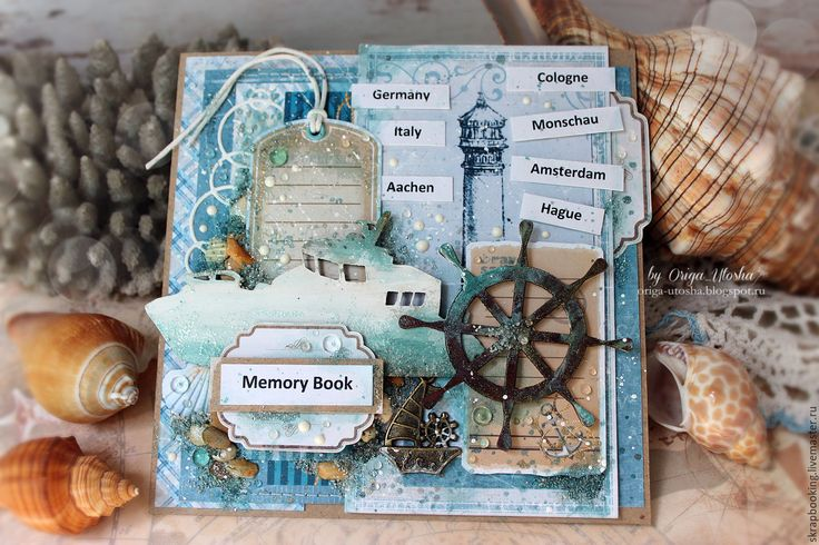 Купить Открытка в морском стиле - голубой, открытка, морская открытка, открытка на заказ, Скрапбукинг, scrapbooking