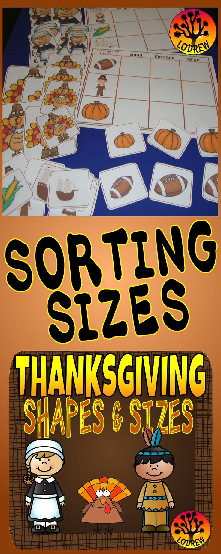 37 pages of Thanksgiving themed centers focusing on shapes and sizes. Activities include visual discrimination, math, shapes, geometry, sorting, sizes, and more. Great for kindergarten, preschool, SPED, child care, homeschool, or any early childhood setting.