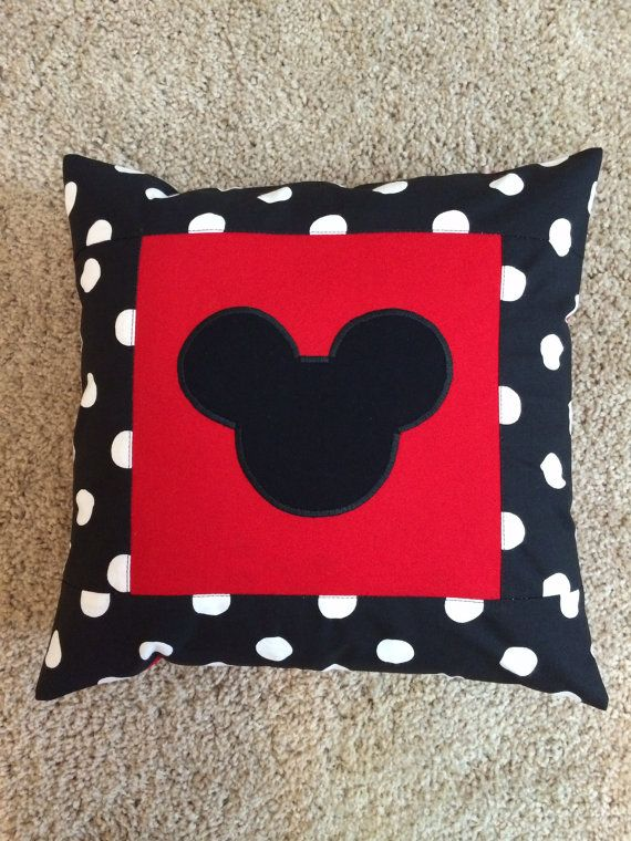Mickey Mouse pillow case. 12x12. Polka dot and red by madebyoksana, $13.50