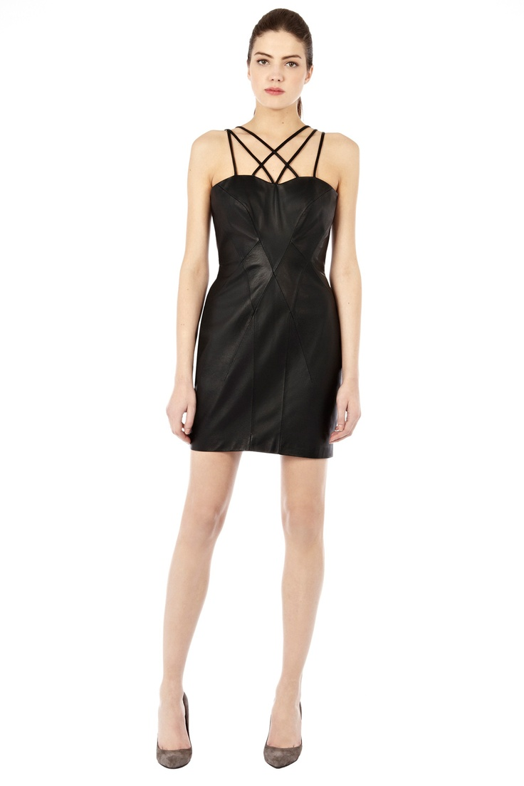 Warehouse Strappy Leather Dress