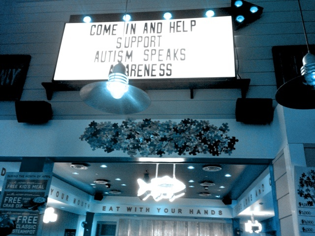 Joe's Crab Shack locations around the US Light It Up Blue for Autism Awareness!!