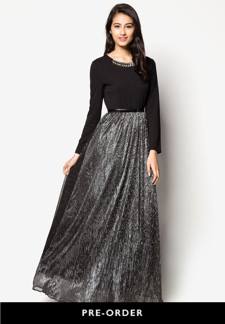 Zalia Embellished Metallic Pleated Maxi Dress / Probably only available for Southeast Asian countries like Singapore, Malaysia, Brunei and Indonesia. Check respective stores.   | ZALORA Singapore