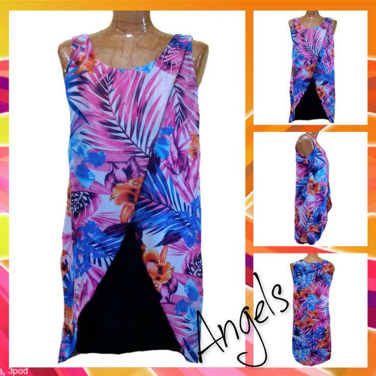 Ladies Womens Summer vinatge vestito Dress donna femme frau fantasia tropicale