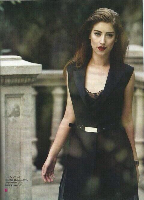 HAZAL KAYA || Turkish actress, celebrity, dark dress, black dress, modern design, dark hair