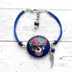 Bracelet tête de mort, cabochon et photo, breloques, aile