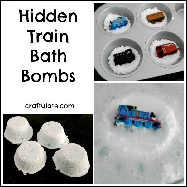 These hidden train bath bombs will surprise and delight kids!