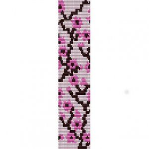 PINK CHERRY BLOSSOM  - LOOM beading pattern for cuff bracelet SALE
