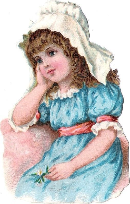 Oblaten Glanzbild scrap die cut chromo Kind child enfant buste head portrait