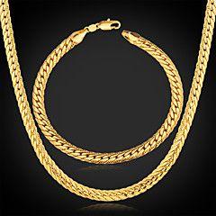 Men's Chunky 18K Gold Plated Jewelry Set (Necklace & Bracele... – EUR € 12.47