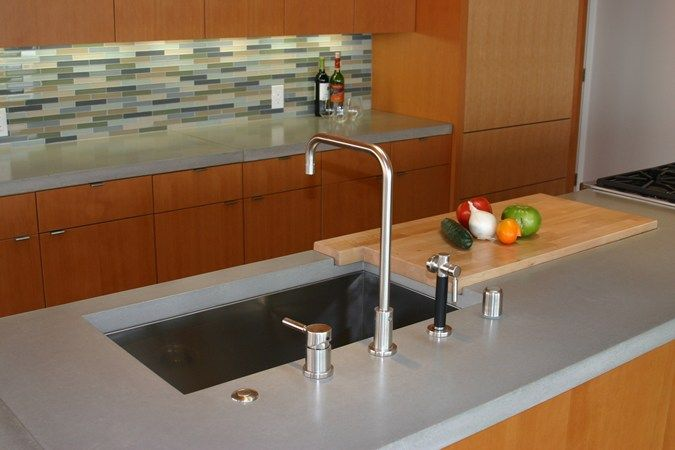 Built in cutting board insert Concrete Island, Concrete Sink Concrete Countertops Love the back splash too