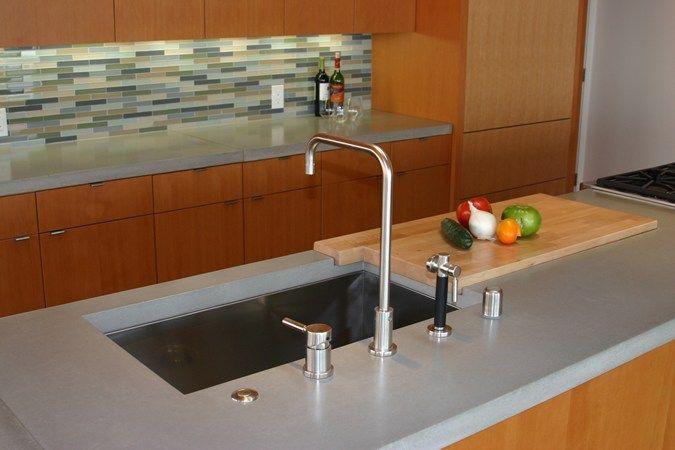 Built in cutting board insert Concrete Island, Concrete Sink Concrete Countertops Love the back splash too
