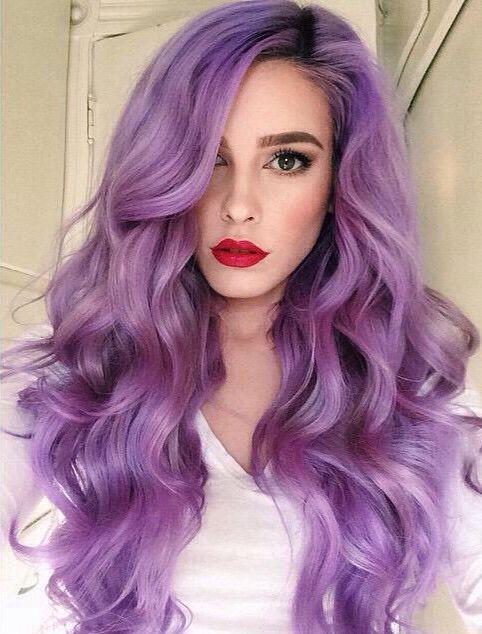 Purple wavy hair