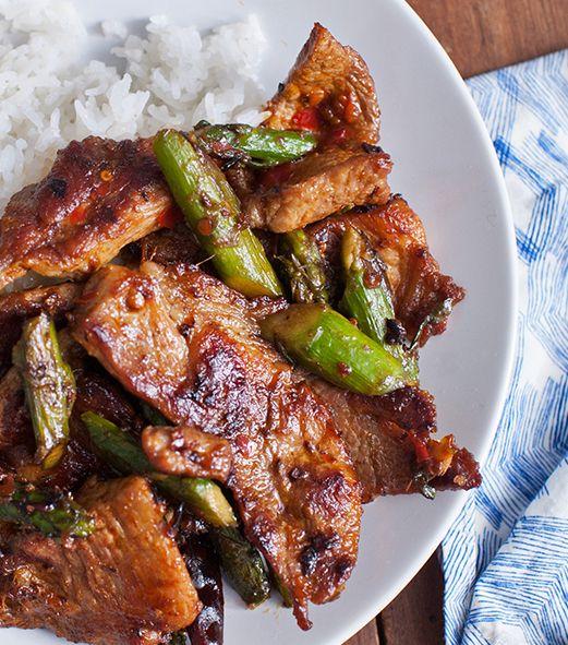 Pork & Asparagus with Chile-Garlic Sauce #recipe