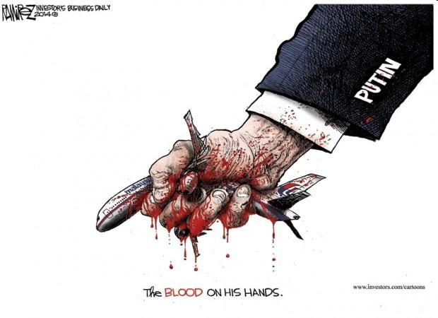 'The BLOOD on his hands' – Devastating Michael Ramirez cartoon on Putin and the MH17.