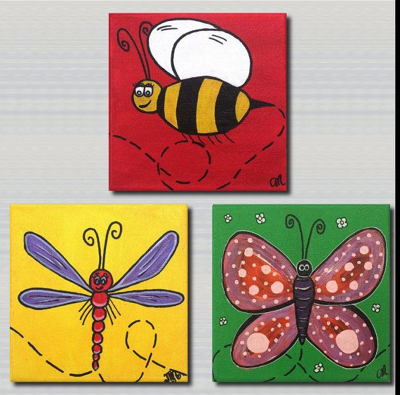 http://www.lollipop-designs.com Bumble Bee Butterfly Dragonfly Set of 3 by LollipopDesignsAU, $75.00