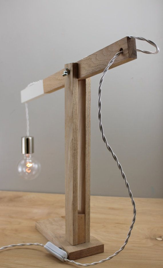 The Quot Catapult Quot Modern Dipped Wood Arm Table Lamp In Oak