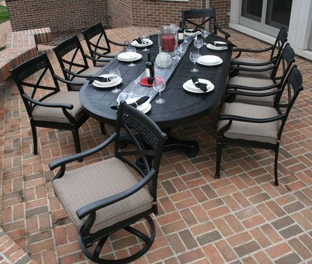 The Moncler Collection 8-Person All Welded Cast Aluminum Patio Furniture Dining Set