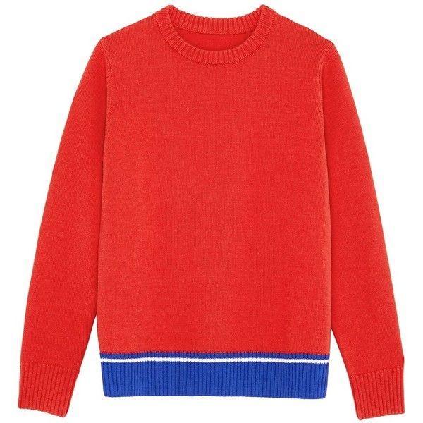 Egle Zvirblyte X Lane Crawford Graphic intarsia unisex wool sweater ($315) ❤ liked on Polyvore featuring tops, sweaters, red, mens graphic sweaters, men's color block sweater, mens red sweater, mens colorblock sweater and mens woolen sweaters