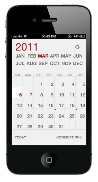 #iphone #application #ui #calendar #minimal