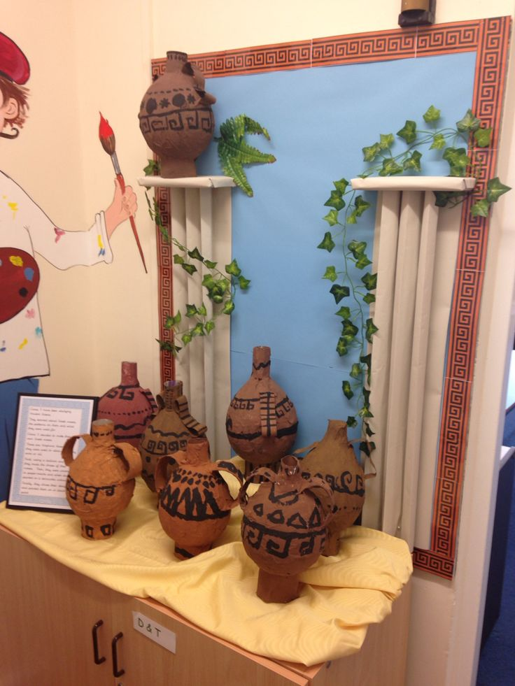 Ancient Greece bulletin board display with papier-mâché Greek vases
