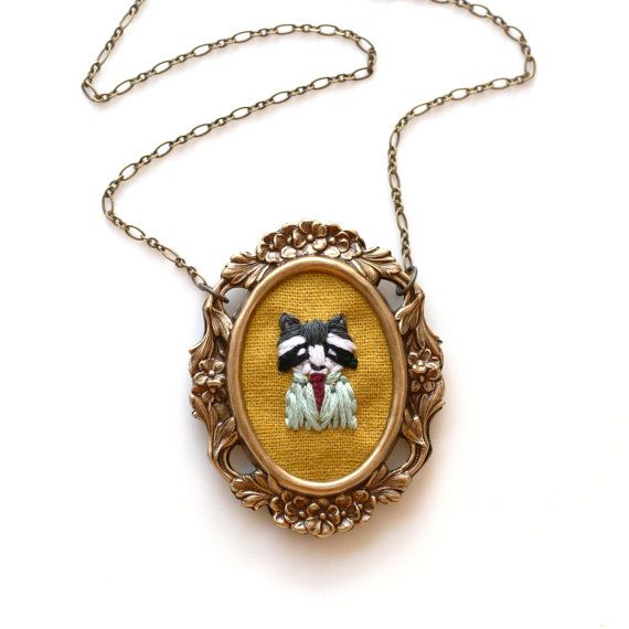 Mr. Raccoon hand embroidered necklace fall dapper by PoppyandFern, $48.00