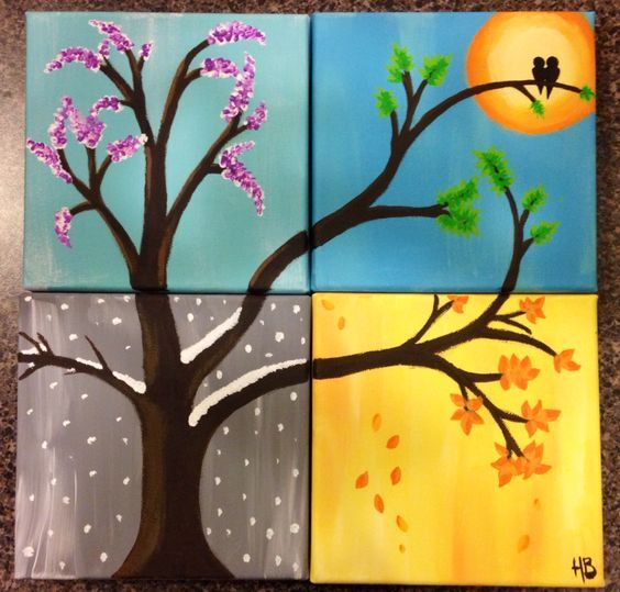 the four seasons, acrylic paints, 4 canvases, made by me:):
