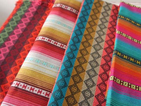 woven fabrics from South America - 4 pieces!