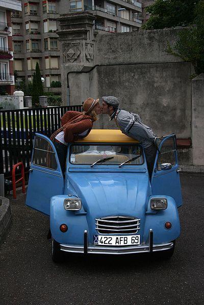 paris, in a deux chevaux