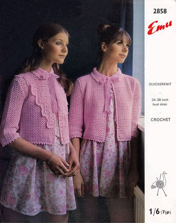 PDF Vintage 1970s Womens Ladies Pussy Bow Bed Jacket Crochet
