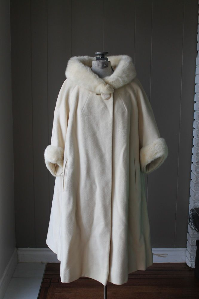 60s Coat Serrano Luxury Cashmere and Mink Coat Cream Swing Coat blonde mink. Stunning !!!