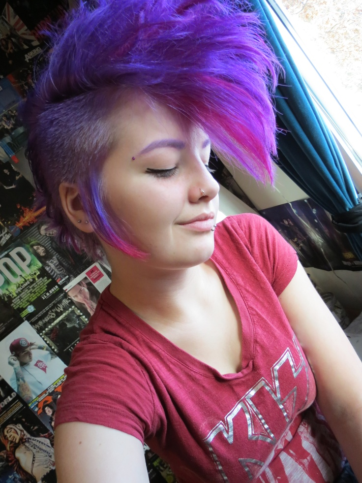 Purple and red mohawk/deathhawk beautiful girl