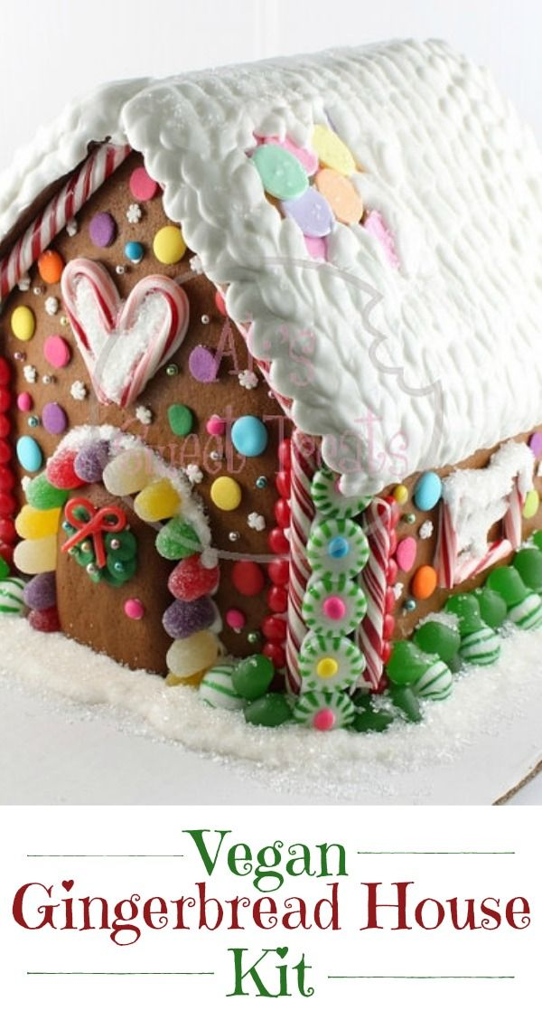 Vegan Gingerbread House Kit - This kit is handmade and dairy and egg free. Great option for kids with allergies.  #gingerbreadhouse #gingerbread #christmas #etsy #vegan #oybpinners #ad