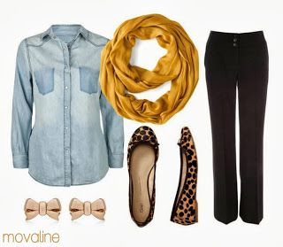 mustard yellow scarf, black slacks, flats and a chambray! makes a cute, easy outfit for work and really simple to pull off.