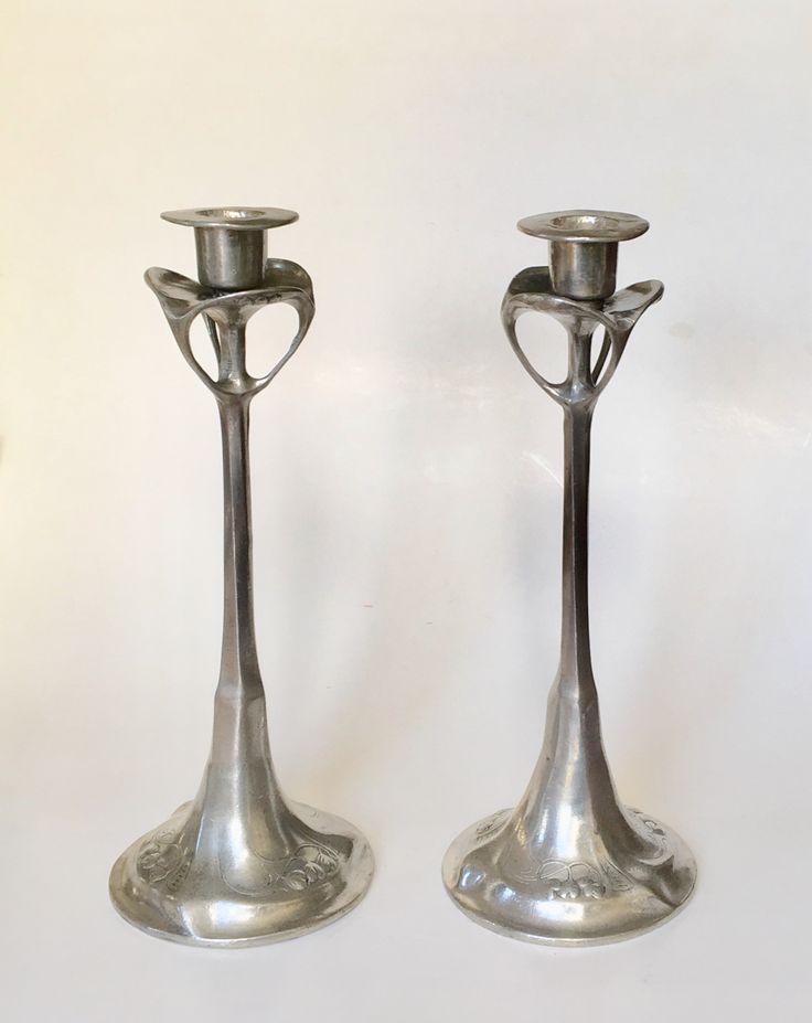 Jugendstil candlesticks design Hugo Leven executed by Kayserzinn circa 1900-1902.
