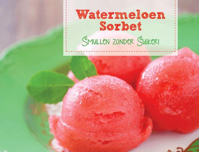 Recepten zonder suiker: watermeloen sorbet. Een echte zomerrecept!
